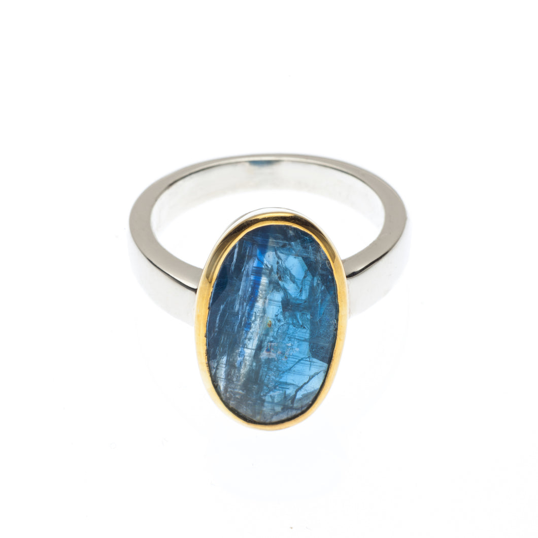 One of a kind Blue Kyanite Oval Ring set in smooth 24kt gold vermeil with a sterling silver ring band -R417-K