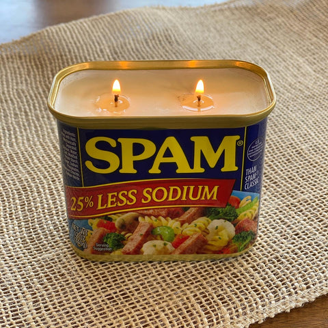Spam 25% Less Sodium mango papaya scented soy candle