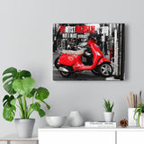 Red Moped Canvas Gallery Wrap