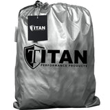 Titan Lightweight Poly 210T Car Cover. Fits Sub-Compact Sedans up to 175 Inches. Waterproof, Reflective UV Defense with Scratch Resistant Lining. Silver and Black Styling. Fits Ford Fiesta, Toyota Yaris, Chevy Aveo, Chevy Sonic, and Similar.