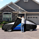 Titan Jet Black Poly 210T Car Cover. Fits Sub-Compact Sedans up to 175 Inches. Waterproof, Reflective UV Defense with Scratch Resistant Lining. Black and Silver Styling. Fits Ford Fiesta, Toyota Yaris, Chevy Aveo, Chevy Sonic, and Similar.