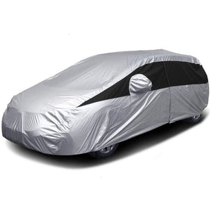 Titan Lightweight Poly 210T Car Cover. Fits Mid-Size Hatchbacks up to 181 Inches. Waterproof, Reflective UV Defense with Scratch Resistant Lining. Silver and Black Styling.  Fits Toyota Prius, Mazda 3, Ford Focus, Chevy Cruze, Honda Civic, Subaru Impreza.