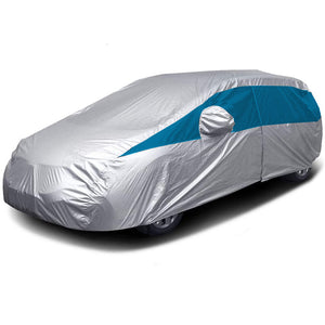 Titan Lightweight Poly 210T Car Cover. Fits Mid-Size Hatchbacks up to 181 Inches. Waterproof, Reflective UV Defense with Scratch Resistant Lining. Silver and Bondi Blue Styling. Fits Toyota Prius, Mazda 3, Ford Focus, Chevy Cruze, Civic, Subaru Impreza.