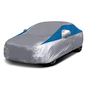 Titan Lightweight Poly 210T Car Cover. Fits Compact Sedans up to 185 Inches. Waterproof, Reflective UV Defense with Scratch Resistant Lining. Silver and Bondi Blue Styling. Fits Corolla, Nissan Sentra, Civic, Ford Focus, Chevy Cruze.