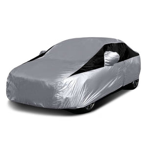Titan Lightweight Poly 210T Car Cover. Fits Compact Sedans up to 185 Inches. Waterproof, Reflective UV Defense with Scratch Resistant Lining. Silver and Black Styling. Fits Corolla, Nissan Sentra, Civic, Ford Focus, Chevy Cruze.