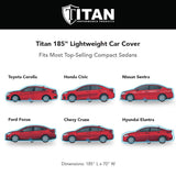 Titan Jet Black Poly 210T Car Cover. Fits Compact Sedans up to 185 Inches. Waterproof, Reflective UV Defense with Scratch Resistant Lining. Black and Silver Styling. Fits Corolla, Nissan Sentra, Civic, Ford Focus, Chevy Cruze.