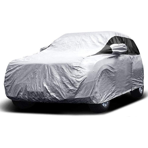 Titan Premium Multi-Layer PEVA Car Cover. Fits Compact SUV up to 187 Inches. Waterproof, Aluminum Reflective UV Defense with Soft Protective Cotton Lining. Silver and Black Styling. Fits RAV4, Honda CR-V, Nissan Rogue, Ford Escape, Equinox, Jeep Cherokee.