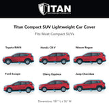 Titan Jet Black Poly 210T Car Cover. Fits Compact SUV up to 187 Inches. Waterproof, Reflective UV Defense with Scratch Resistant Lining. Black and Silver Styling. Fits RAV4, Honda CR-V, Nissan Rogue, Ford Escape, Chevy Equinox, Jeep Cherokee.