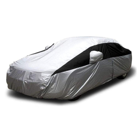 Titan Lightweight Poly 210T Car Cover. Fits Full Size Sedans up to 200 Inches. Waterproof, Reflective UV Defense with Scratch Resistant Lining. Silver and Black Styling. Fits Camry, Mustang, Accord, Altima, Ford Fusion, Chevy Malibu.
