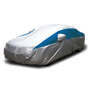 Titan Lightweight Poly 210T Car Cover. Fits Full Size Sedans up to 200 Inches. Waterproof, Reflective UV Defense with Scratch Resistant Lining. Silver and Bondi Blue Styling. Fits Camry, Mustang, Accord, Altima, Ford Fusion, Chevy Malibu.