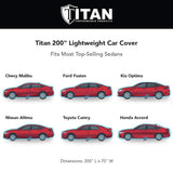Titan Jet Black Poly 210T Car Cover. Fits Full Size Sedans up to 200 Inches. Waterproof, Reflective UV Defense with Scratch Resistant Lining. Black and Silver Styling. Fits Camry, Mustang, Accord, Altima, Ford Fusion, Chevy Malibu.