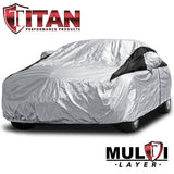 Titan Premium Multi-Layer PEVA Car Cover. Fits Full Size Sedans up to 200 Inches. Waterproof, Aluminum Reflective UV Defense with Soft Protective Cotton Lining. Silver and Black Styling. Fits Camry, Mustang, Accord, Altima, Ford Fusion, Chevy Malibu.