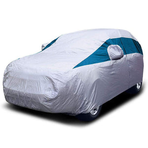 Titan Lightweight Poly 210T Car Cover. Fits Mid-Size SUV up to 206 Inches. Waterproof, Reflective UV Defense with Scratch Resistant Lining. Silver and Bondi Blue Styling. Fits Ford Explorer, Jeep Grand Cherokee, Kia Sorento, GMC Acadia.