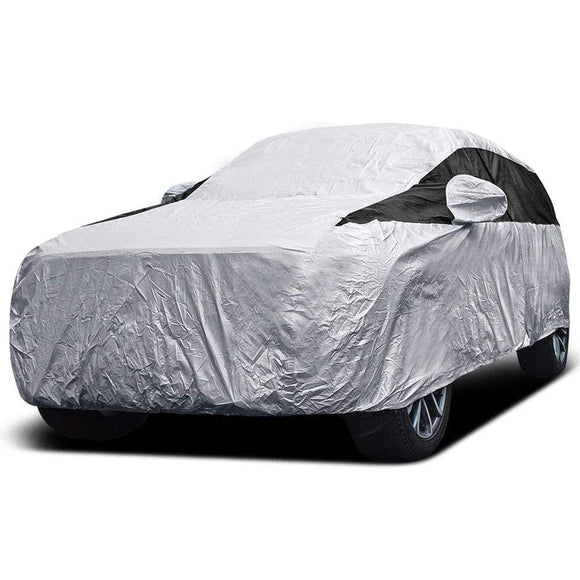 Titan Premium Multi-Layer PEVA Car Cover. Fits Mid-Size SUV up to 206 Inches. Waterproof, Aluminum Reflective UV Defense with Soft Protective Cotton Lining. Silver and Black Styling. Fits Ford Explorer, Jeep Grand Cherokee, Kia Sorento, GMC Acadia.