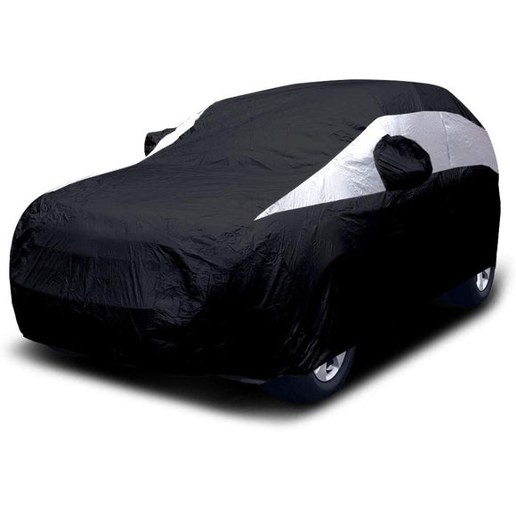 Titan Jet Black Poly 210T Car Cover. Fits Mid-Size SUV up to 206 Inches. Waterproof, Reflective UV Defense with Scratch Resistant Lining. Black and Silver Styling. Fits Ford Explorer, Jeep Grand Cherokee, Kia Sorento, GMC Acadia.