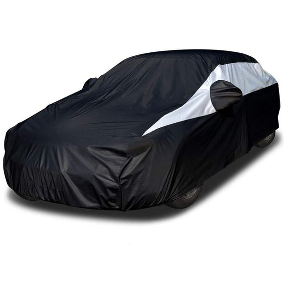 Titan Jet Black Poly 210T Car Cover. Fits Large Sedans up to 210 Inches. Waterproof, Reflective UV Defense with Scratch Resistant Lining. Black and Silver Styling. Fits Avalon, BMW 6-8 S, Q70, Lexus LS 500, Cadillac XTS, Cadenza.