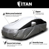Titan Lightweight Poly 210T Car Cover. Fits Large Sedans up to 210 Inches. Waterproof, Reflective UV Defense with Scratch Resistant Lining. Silver and Black Styling. Fits Avalon, BMW 6-8 S, Q70, Lexus LS 500, Cadillac XTS, Cadenza.