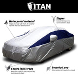 Titan Lightweight Poly 210T Car Cover. Fits Full Size Sedans up to 200 Inches. Waterproof, Reflective UV Defense with Scratch Resistant Lining. Silver and Midnight Blue Styling. Fits Camry, Mustang, Accord, Altima, Ford Fusion, Chevy Malibu.