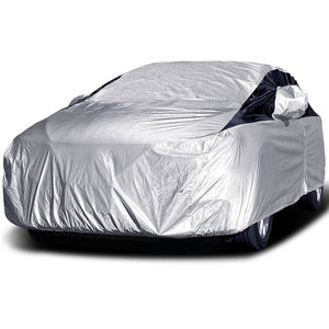 Titan Premium Multi-Layer PEVA Car Cover. Fits Compact Sedans up to 185 Inches. Waterproof, Aluminum Reflective UV Defense with Soft Protective Cotton Lining. Silver and Black Styling. Fits Corolla, Nissan Sentra, Civic, Ford Focus, Chevy Cruze.