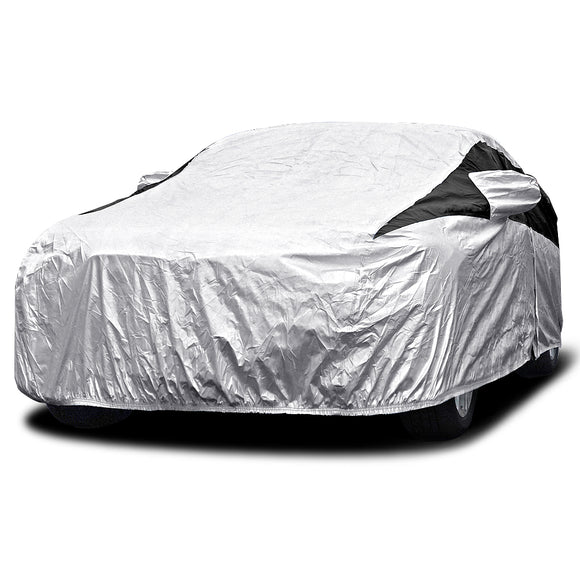 Titan Premium Multi-Layer PEVA Car Cover. Fits Mid-Size Hatchbacks up to 181 Inches. Waterproof, Aluminum Reflective UV Defense with Soft Protective Cotton Lining. Silver and Black Styling. Fits Prius, Mazda 3, Focus, Chevy Cruze, Civic, Subaru Impreza.