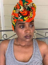 Load image into Gallery viewer, Orange Yellow & Green Headwrap