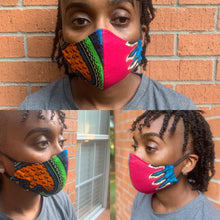 Load image into Gallery viewer, Fuchsia Orange & Turquoise Face Mask