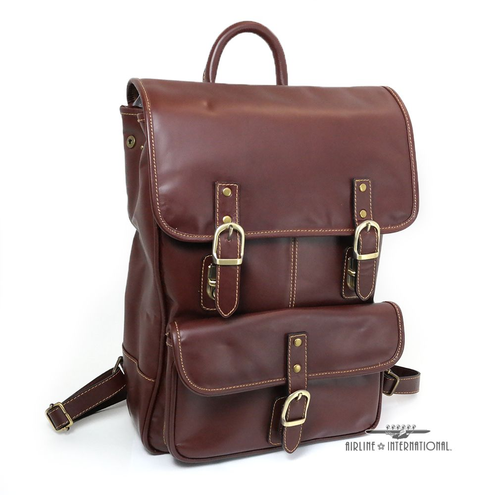 Chester Square Leather Flap Backpack