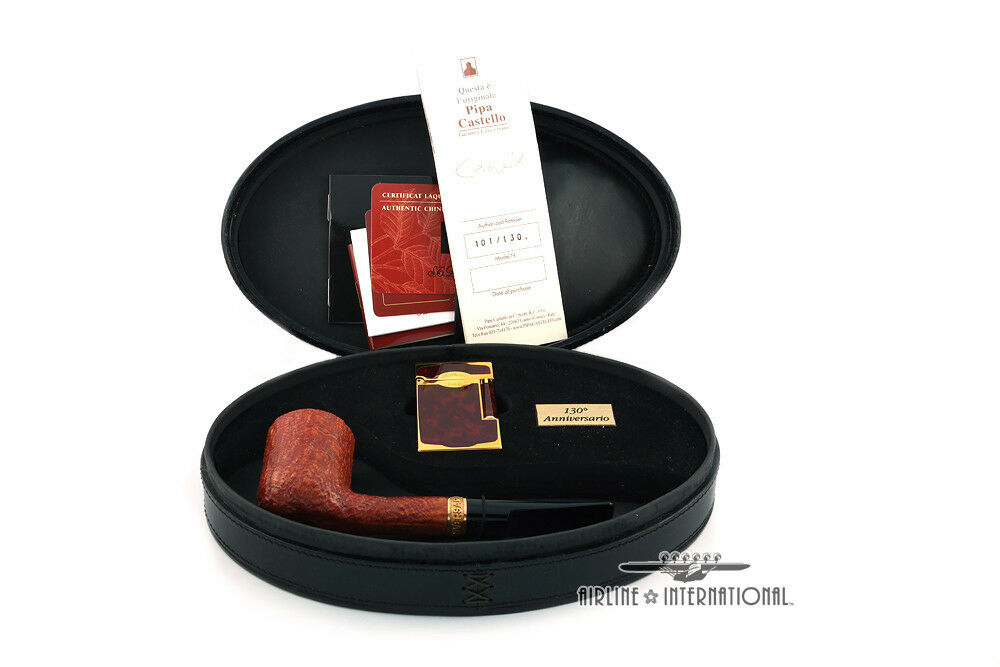 S.T. Dupont 130th Anniversary Castello Limited Edition Briar Pipe & Lighter