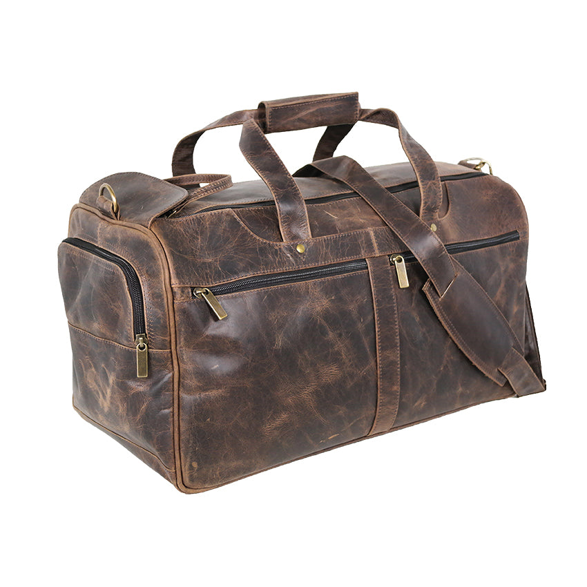 DAYTREKR DISTRESSED LEATHER CARRY-ON DUFFEL