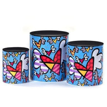 Load image into Gallery viewer, Romero Britto Flying Hearts Metal Canisters - 3 Piece Set