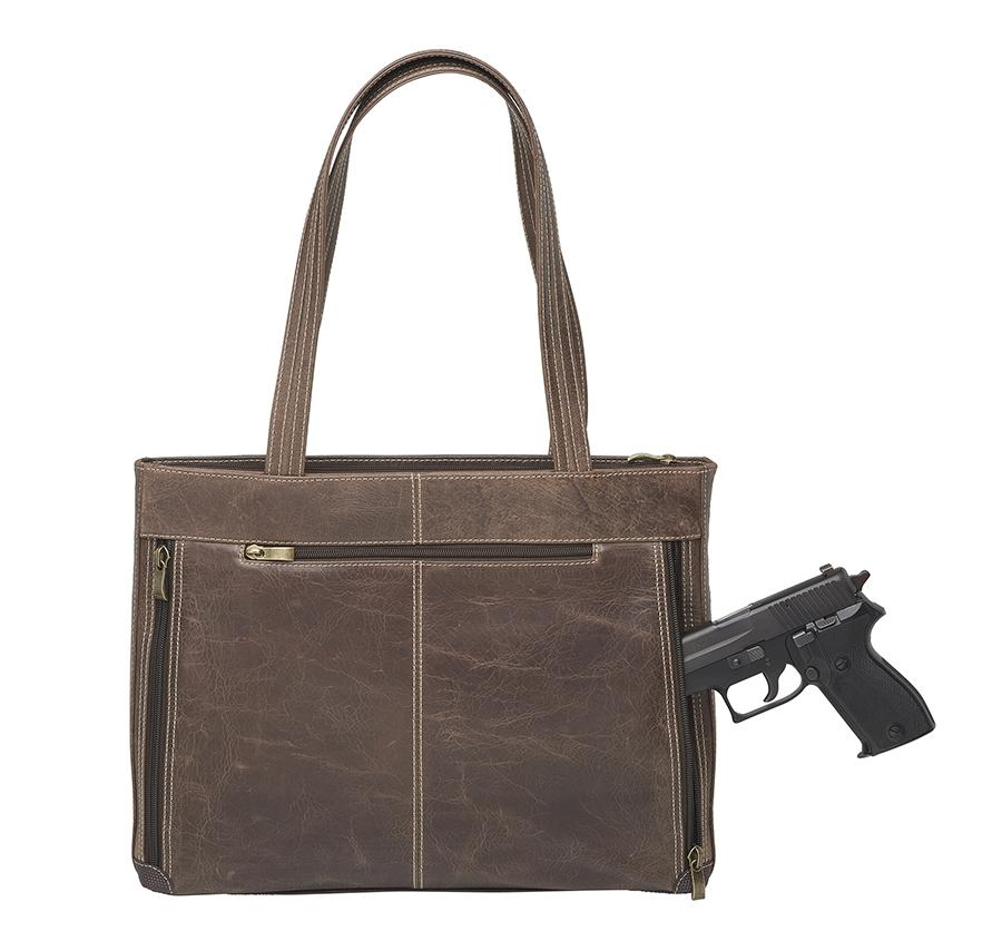 GTM Distressed Leather Concealed Carry Shoulder Portfolio