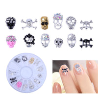 12pcs DIY Skull Nail Art Decor Manicure Alloy Rhinestones For Nails Strass Halloween Skeleton Charms 3D Nail Art Decorations