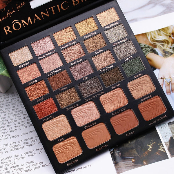 Cream 28 Color Eyeshadow Palette Shimmer Glitter Matte Eyeshadow Palette Metallic Easy to Wear Pigment Makeup Palette Cosmetic