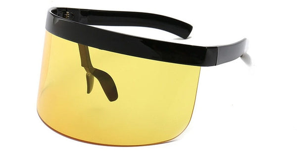 Mirrored Shape Shield Rimless Lens Sun Glasses