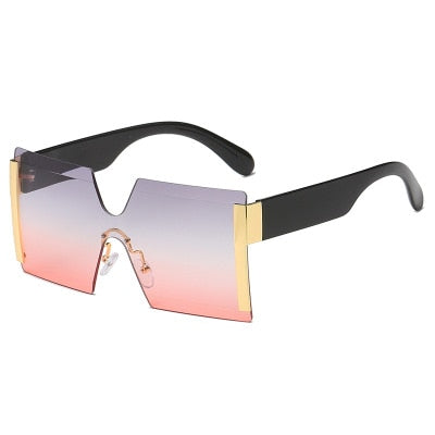 Square Rimless Flat Top Sunglasses