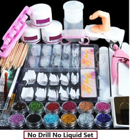 Full Acrylic Set With Acrylic Powder 120ML Acrylic Liquid Set For Manicure Nail Extension Kit Manicure Set Nail Glitter Tool Kit