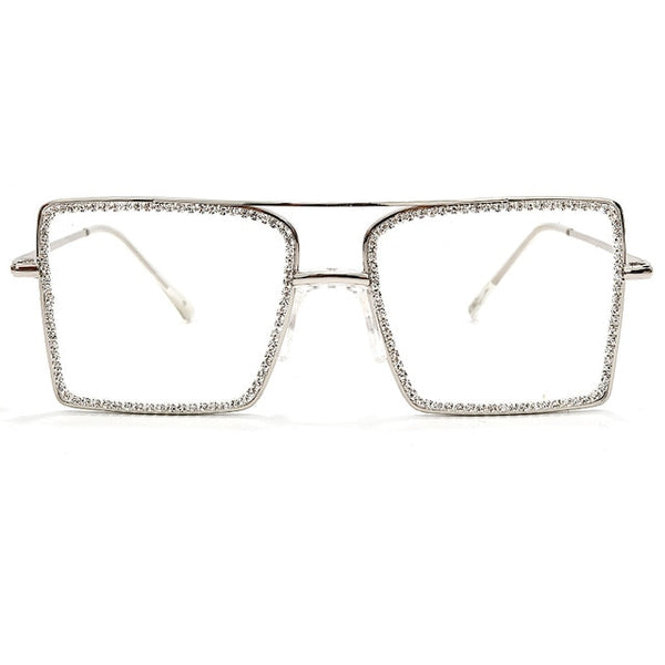 Transparent Square Sunglasses Metal Frame