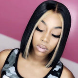 "Highlight Brown 4*4 Lace Front Human Hair Wig Straight Bob Wig Brazilian Remy Human Hair Wigs Bleached Knots 8""-12"""