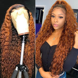 1B/30 Ombre Water Wave Curly Remy Lace Front Human Hair Wigs Highlight Deep Wave Brown Lace Frontal Wig Pre Plucked Hair Wig