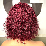 Bob Burgundy Lace Front Wig Brazilian Hd Full Deep Short 99j Red Colored Pre Plucked Water Wave Frontal Curly Human Hair Wigs