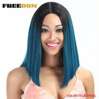 Straight Synthetic  Lace Front Wigs With T Part 14 Inch
