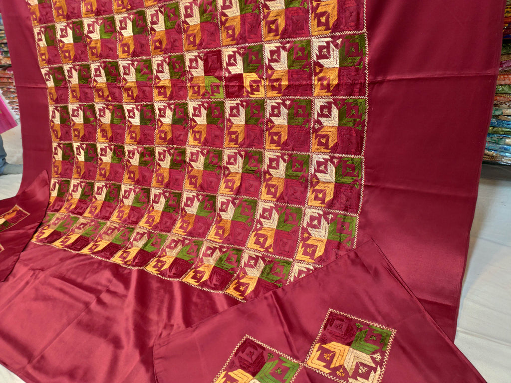 Phulkari handwork bedsheet with pillow covers