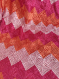 Magenta Orange and Pink Lehriya Phulkari Bagh Dupatta