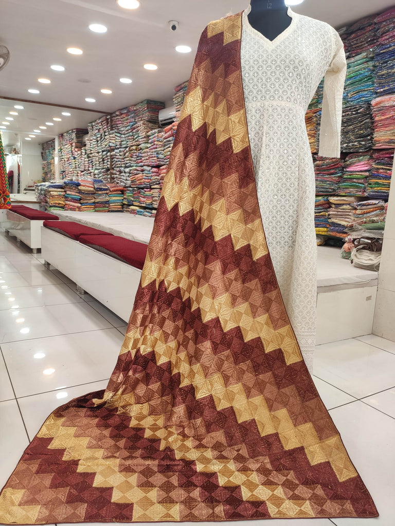 Brown Golden Phulkari Lehriya Bagh Dupatta
