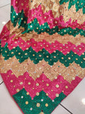 Phulkari Party Wear Stone Dupatta Golden Bottle Green Peach Combination