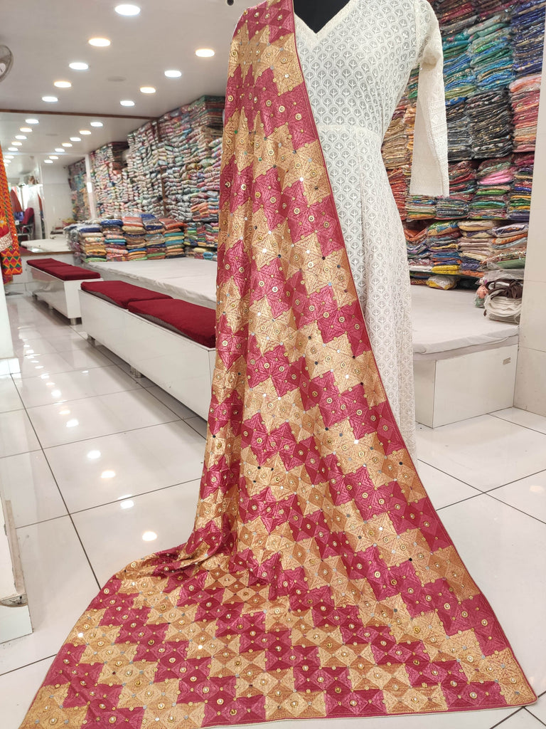 Phulkari Party Wear Stone Dupatta Golden and Dark Peach Combination