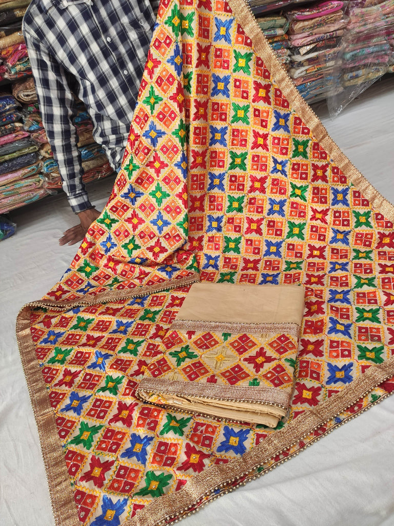 Golden Phulkari Party Wear Suit
