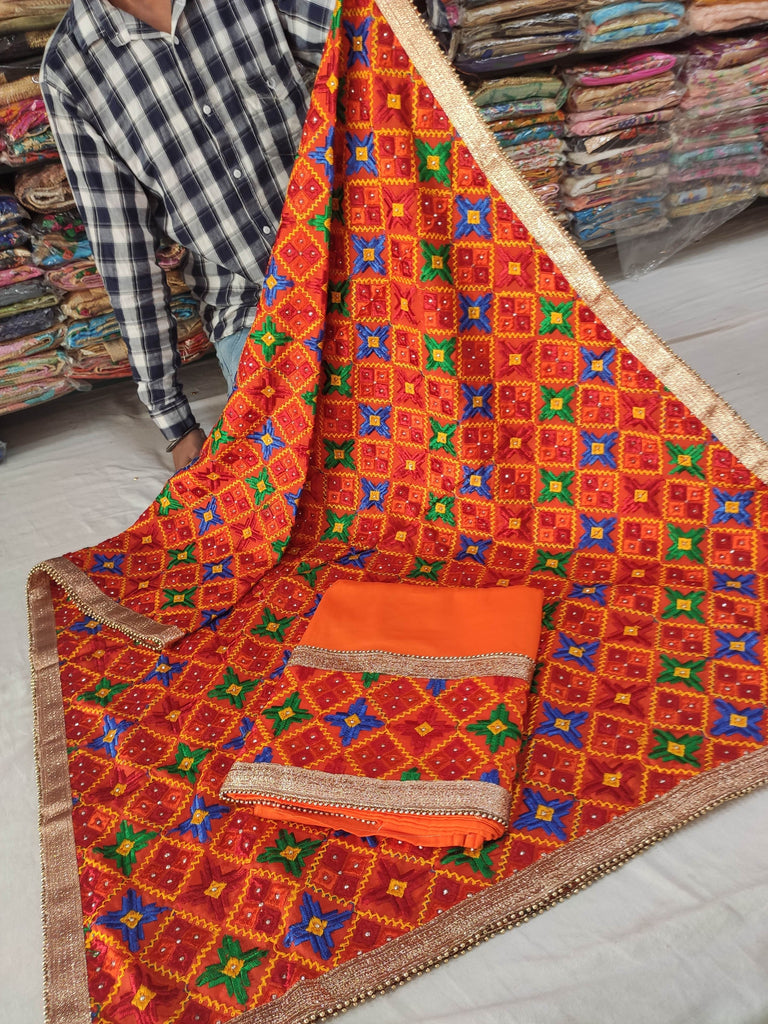 Orange Phulkari Party Wear Suit