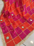 Orange and Magenta Mirror Work Bagh Dupatta