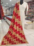Red and Golden Mirror Work Bagh Dupatta